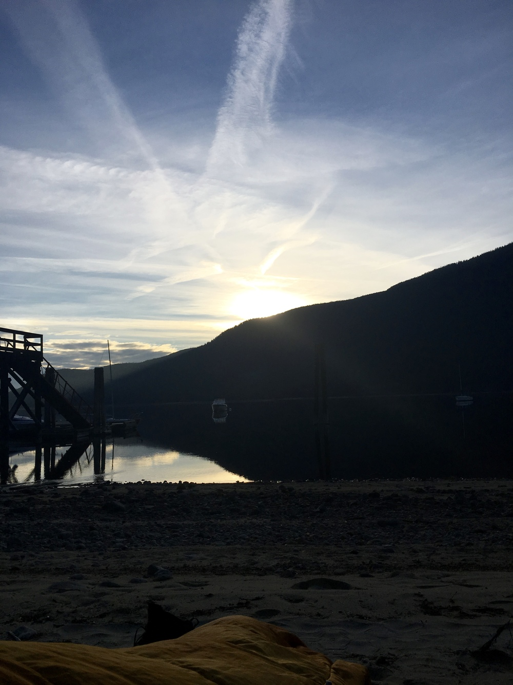 Waking up on the beach on the North Shore of Nelson, BC