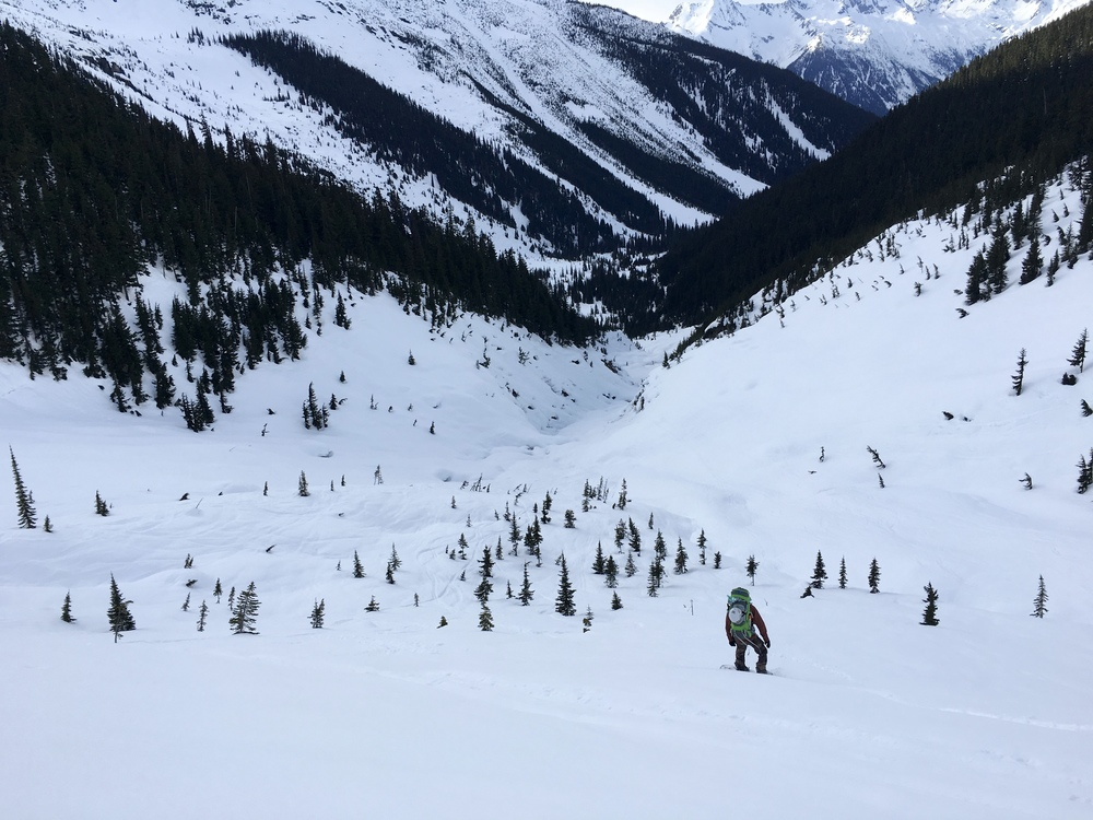 Brian sliding into the Mouse Trap on the ride back to Rogers Pass  Photo: Zach