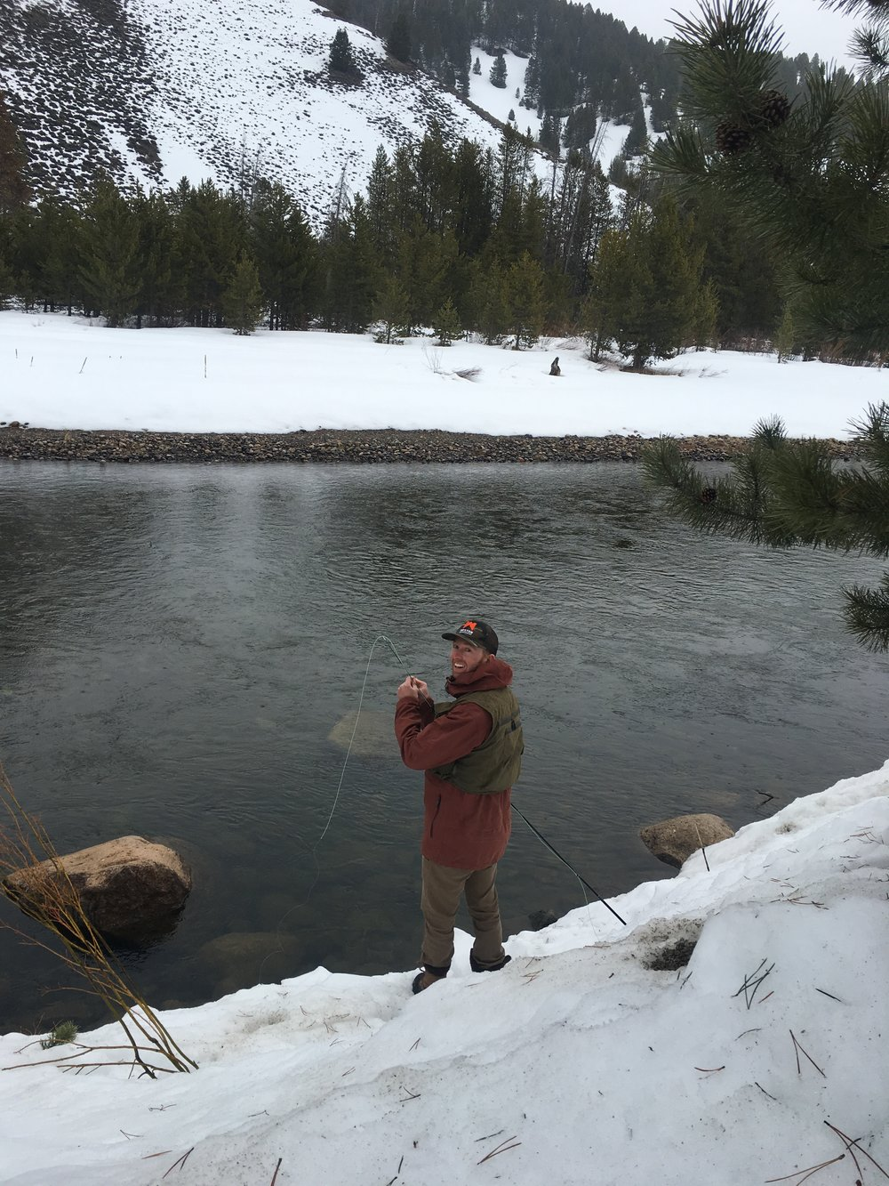 Photo: Brian finding the right dry fly nymph set-up  Photo: Zach Husted