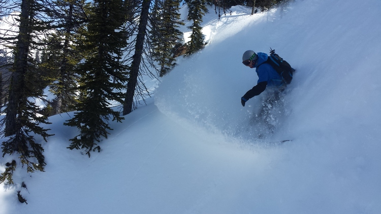 Zach slashing his way into the couloir near Tryst Lake in Kananaskis Country.  Photo: Brian Stenerson
