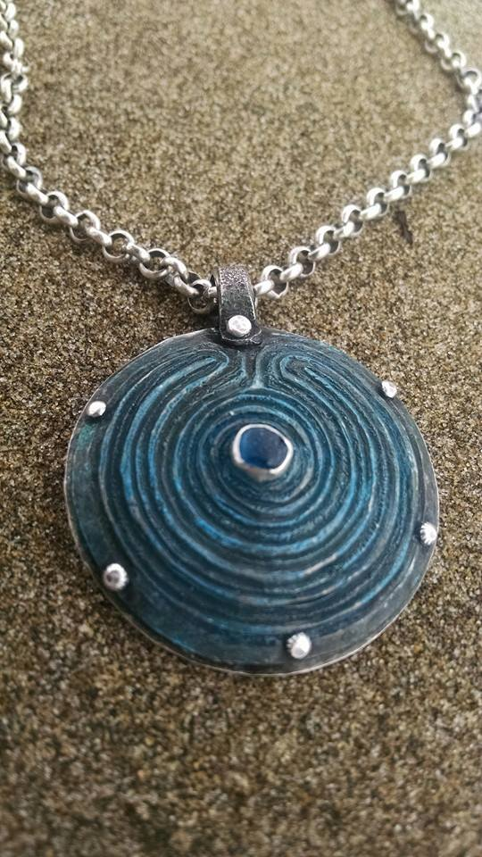 blue labrynth pendant