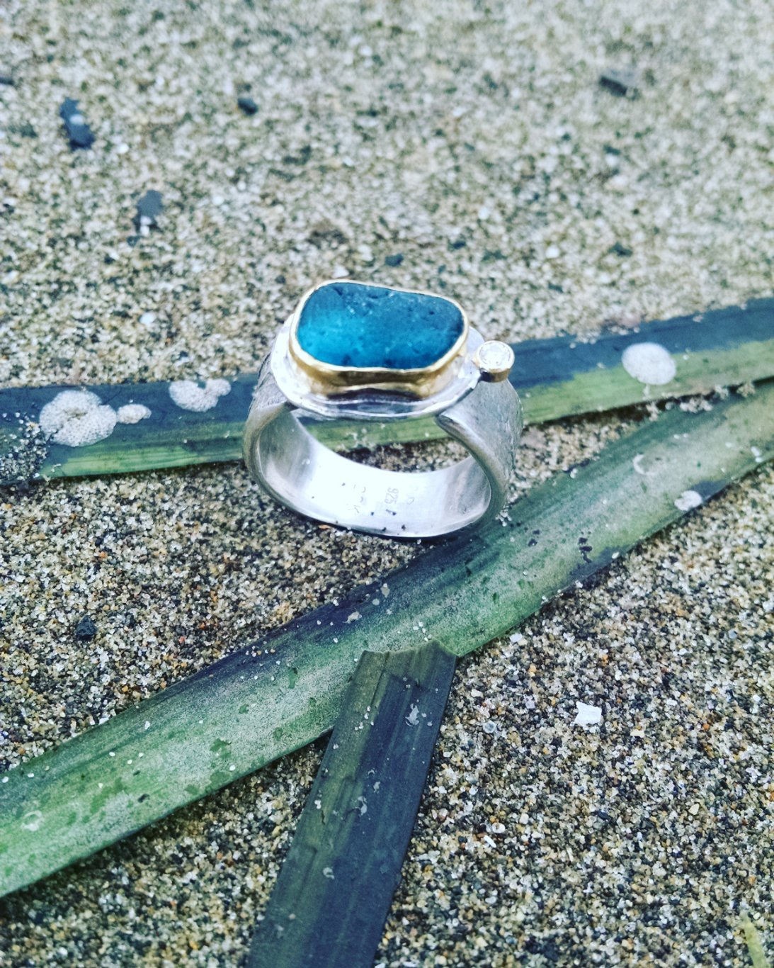 sea glass and eel grass