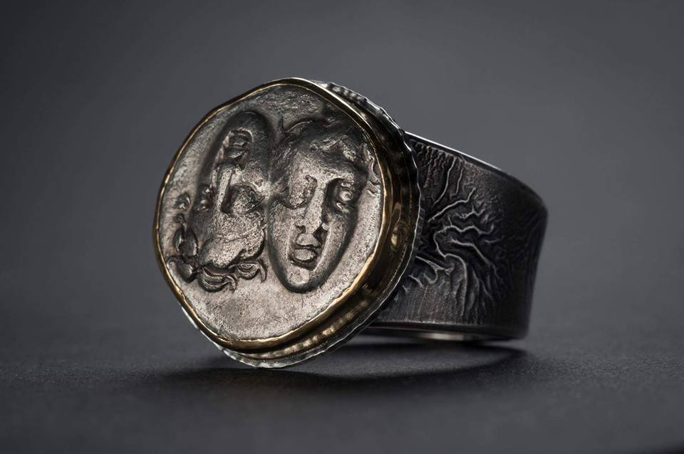 Gemini ring-ancient silver coin, Greek. circa 280 B.C.photo by Marcy Merrill