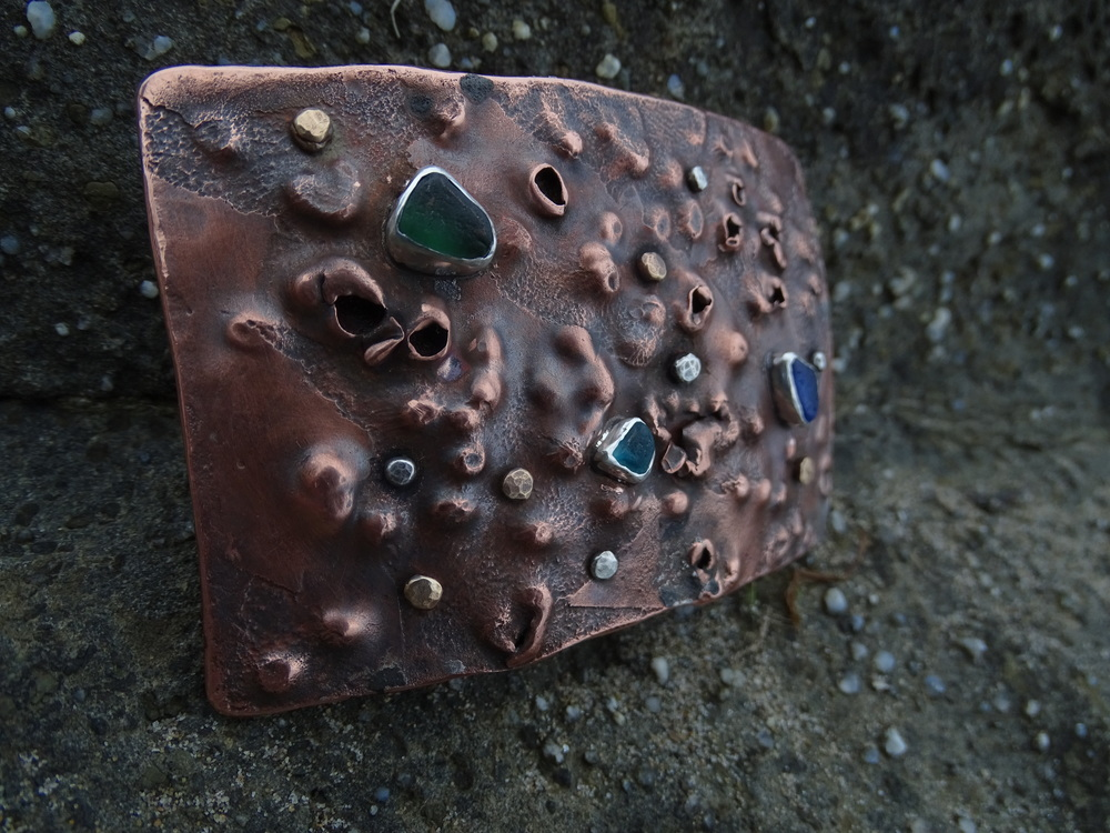 Lichen Buckle- buckshot texture, acid etched copper with sea glass