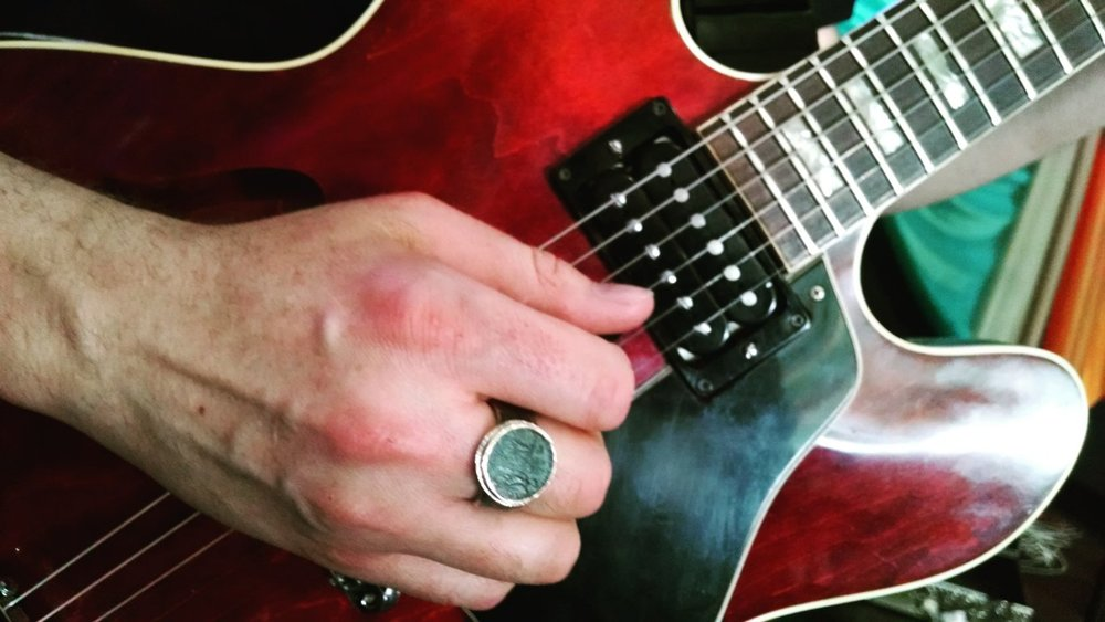 Jared Meeker rocking one of my ancient coin rings at Fuji.