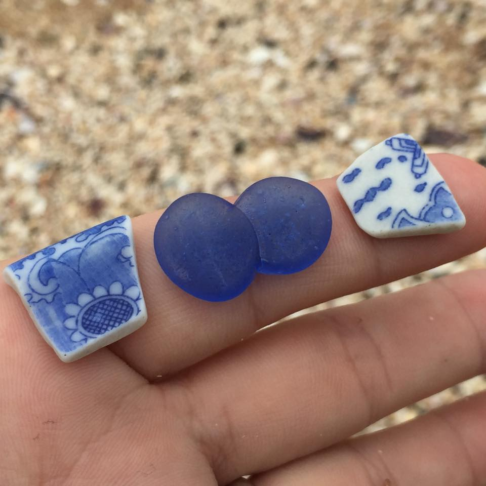 Old pottery and ohajike in cobalt blue, photo by Barbie Ball Stovall