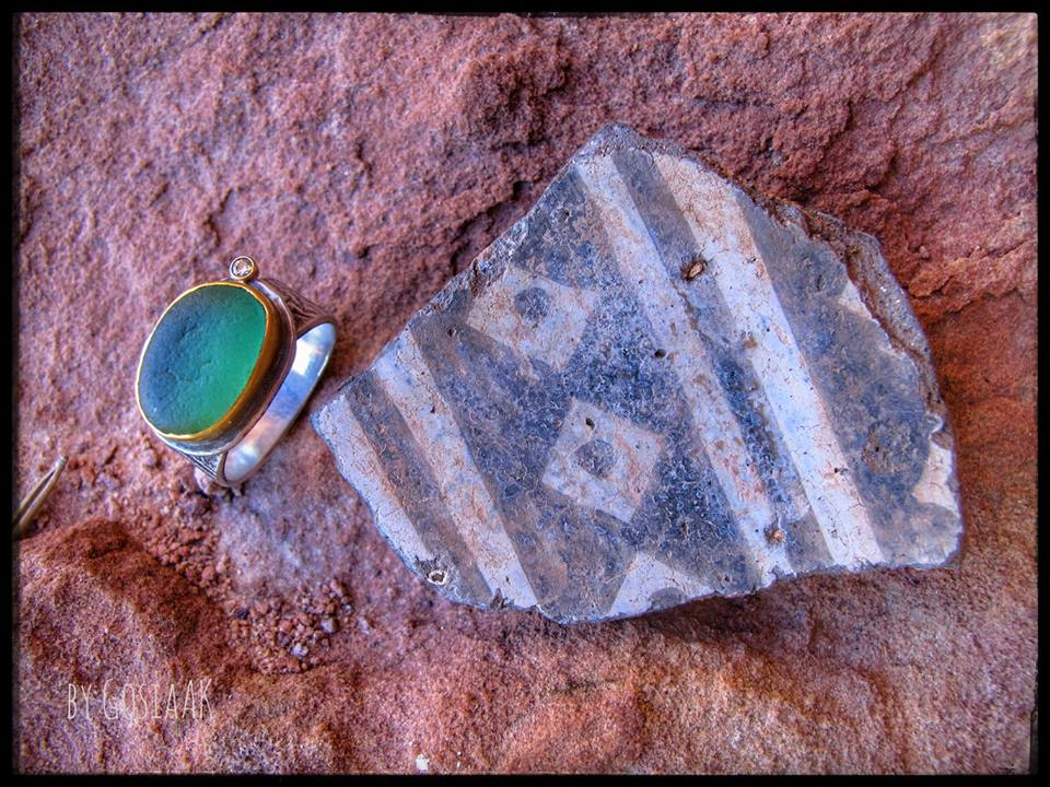 Sea Glass Ring with pottery shard at Bears Ears National Monument, New Mexico