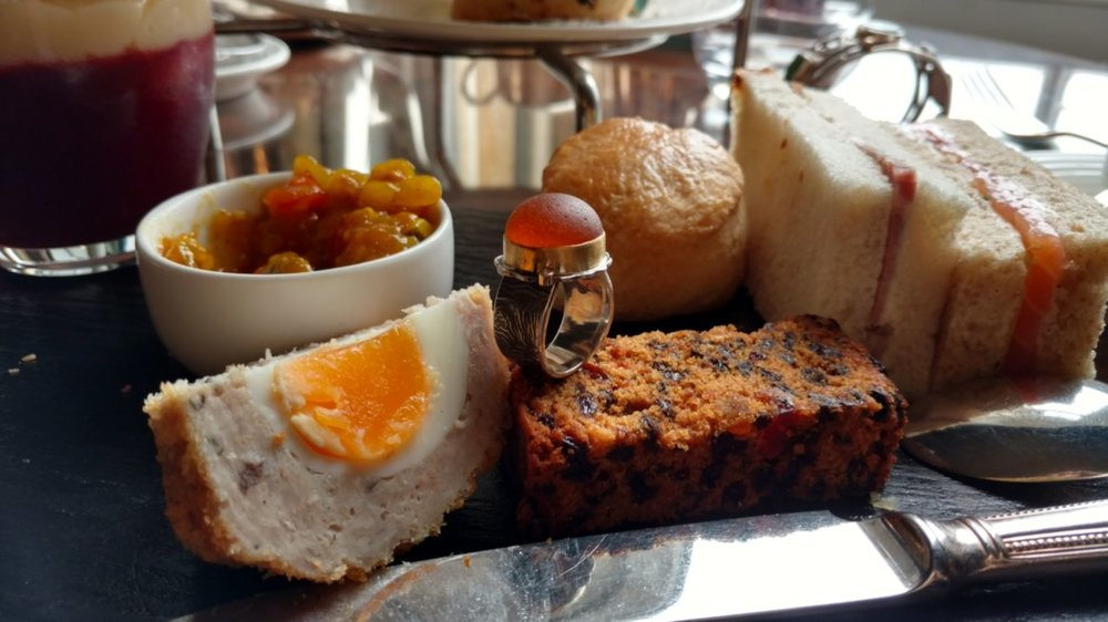 Gentleman's tea at Wynyard Hall, with scotch egg, piccalilli, sandwiches, scones, and more-a great setting for a sea glass ring. Not pictured: the glass of whiskey that was included with meal.