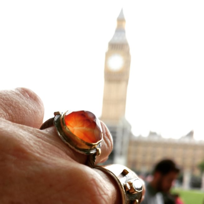 Faceted sea glass marble and Big Ben