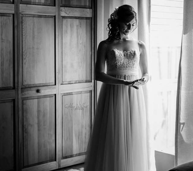 Black and White of Bride in Wedding dress - Saratoga Lake, NY wedding