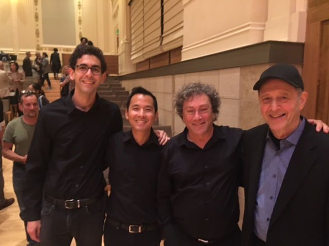 Ignition Duo (Ramon Fermin and David Gonzales) with Pulitzer Prize-winning composer Steve Reich and David Tanenbaum. Taken after performing Reich's  Nagoya Guitars  at the San Francisco Conservatory of Music as part of an evening of music and conversation on 9/8/16.