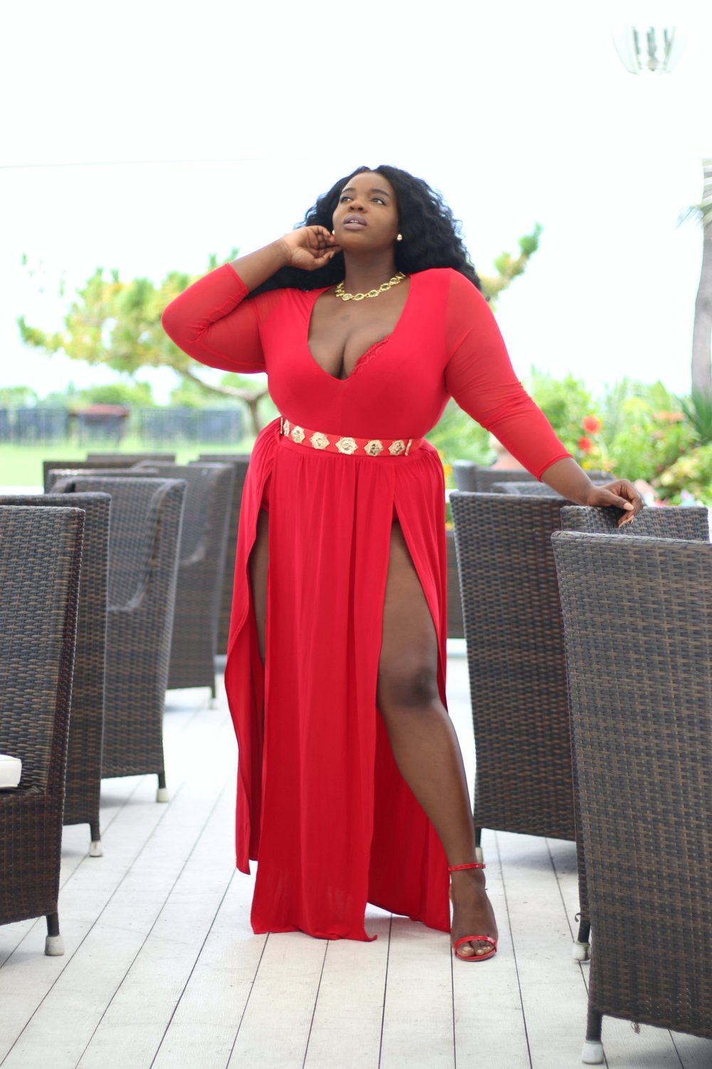 Maxi Dresses - Maxi dresses are a vacation essential. Dress it up or down with the right accessories. This piece is from Boohoo plus size. Go for something bright and colorful. If you're feeling daring, pick something with a sexy detail like these double slits. Shop similar plus size options below.