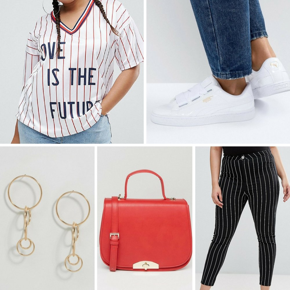 "Be Sporty & Chic - Sneakers automatically add a ""cool factor"" to any look. I would pair this jersey style plus size tee with these super cool striped jeggings. Finish the look with funky earrings and a statement bag."