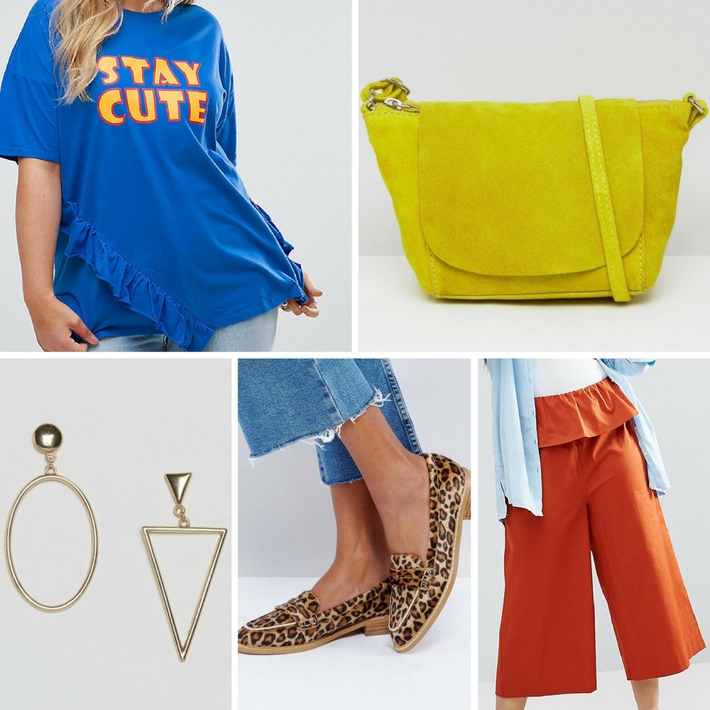 Color Block - If you opt for a bright colored tee, try mixing up your look with other fun colorful pieces. I love the stylish ruffle detail on this blue plus size tee. Pair it with bright colored pants in orange, yellow or red. Add another bright hue with your accessories, like this yellow suede bag.