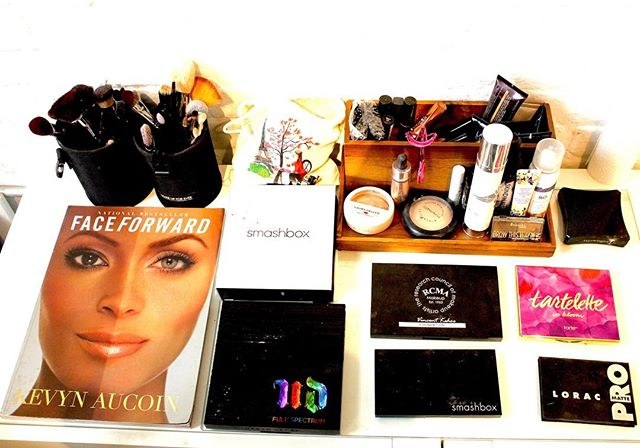 Few of my favorites.  Come get your make up done.... . . . #makeup #palettes #urbandecay #tarte #rcma #loerac #kevinaucoin #mac #skin #mosturizer #bronzer  #smashbox