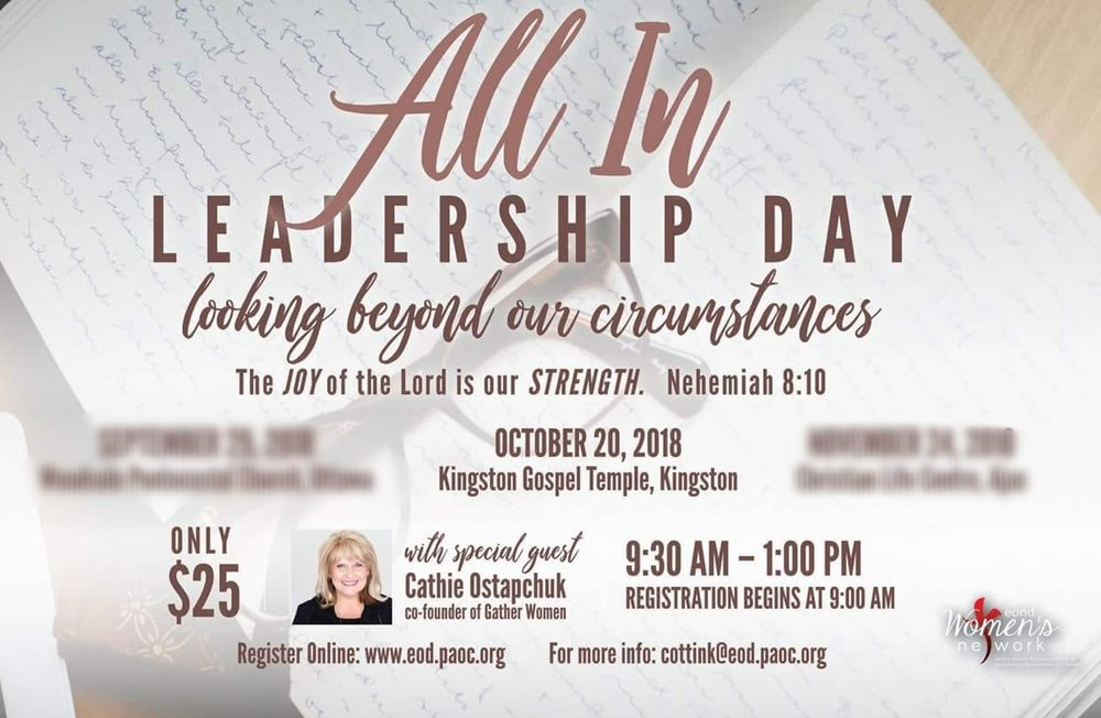 -  Reviving and Relaunching outstanding leaders! You will receive tools to lead, encouragement and resources to take your God dreams to the next level.  Ladies join us on October 20 @ Kingston Gospel Temple, Kingston