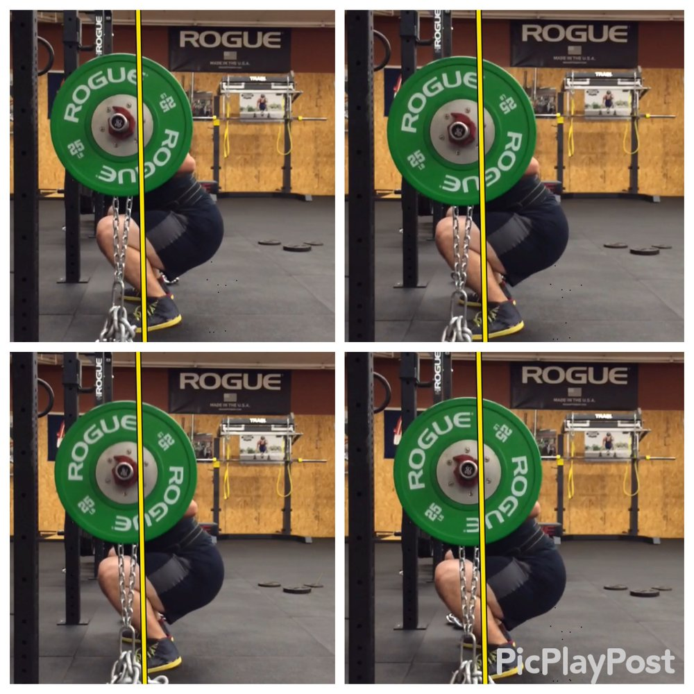 An example of one way that we use video to analyze technique. Ideally the bar would move up and down in a straight line. These screenshots give us feedback that we can relay to the athlete to improve their technique.