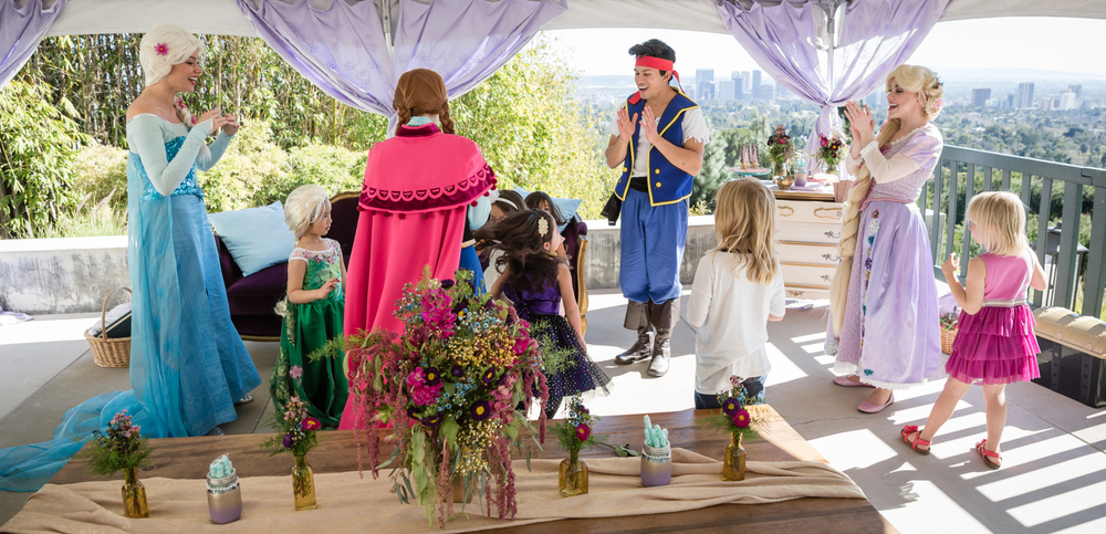 Princess party with Rapunzel, Snow Queen, Norwegian Princess, and our young Neverland Pirate in Beverly Hills. Photo by Jeff Drongowski.