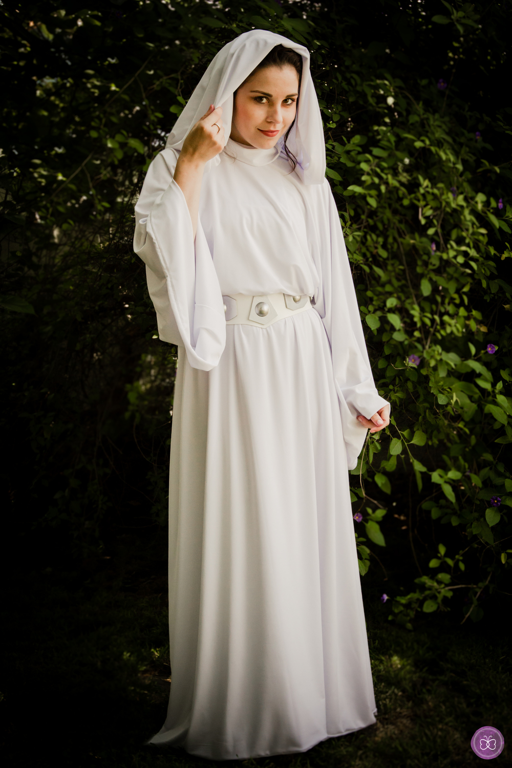 Our star warrior princess Leia wears an authentically replicated, handcrafted gown.