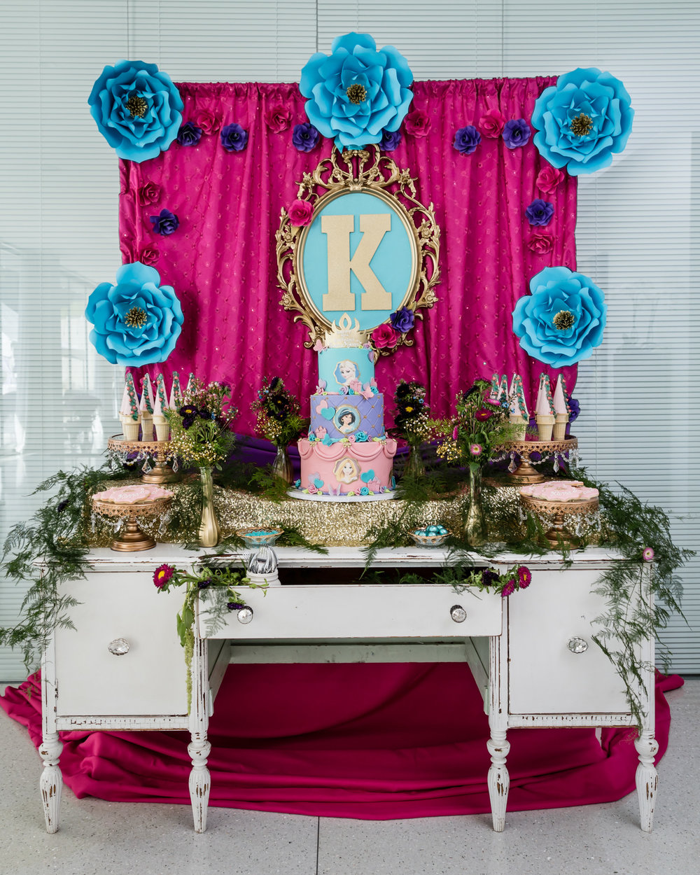 vintage inspired disney princess custom cake dessert table beverly hills .jpg