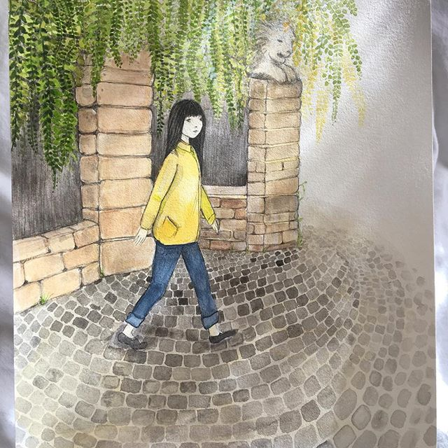 """Two new original paintings for sale!  The first is Sonder, a young woman with long dark hair walks past St David's Park, it is Autumn and she wears a yellow coat, sonder is a word that explains the poignant moment we realise that everyone has a life as vivid, complex and real as our own.  This painting is A4 size in pen and water colour and is $330.  The second painting is a young woman leaves a castle, striding out in winter clothes to hunt with a bow and arrow, the painting is called """"the hunter"""" she is responsible, grounded and aware. She works to feed her tribe and is accompanied by a herd of reindeer dressed in festive clothes, they symbolise her tribe and the joy she feels in caring for her community. The painting is A4 in watercolour and pen and is $330, and both will be available through my website tonight.  THANK YOU ✨"""