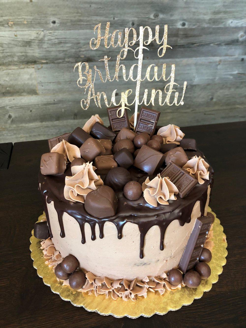 Chocolate cake with chocolate decorations.jpg