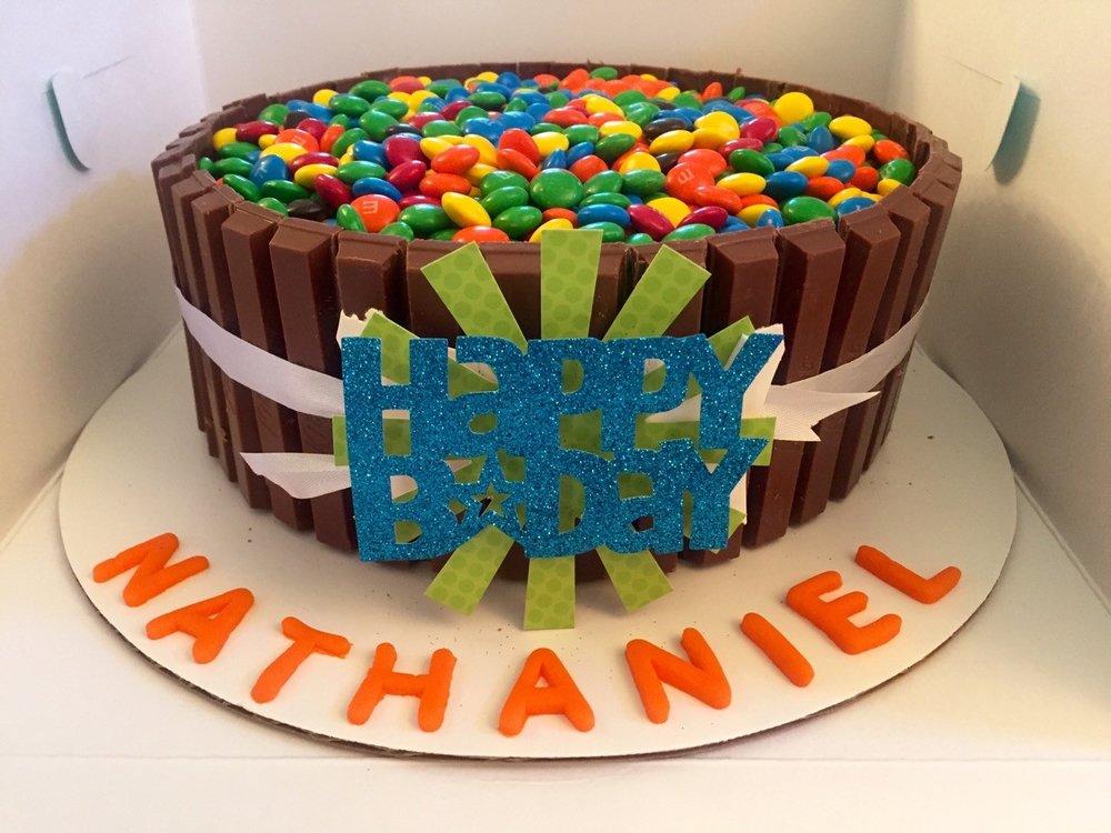 Chocolate cake kit-kats and M&Ms.jpg