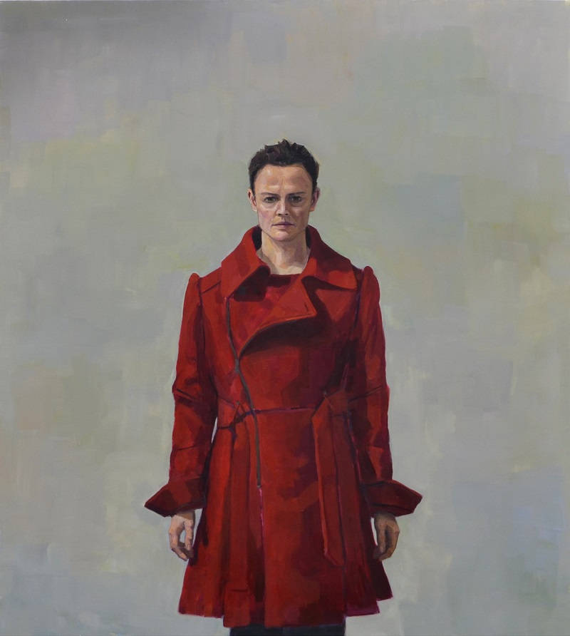 Image: JENNY RODGERSON Bound by the big red coat, oil on linen, 157 x 176cm -Winner, 2016 Portia Geach Memorial Award