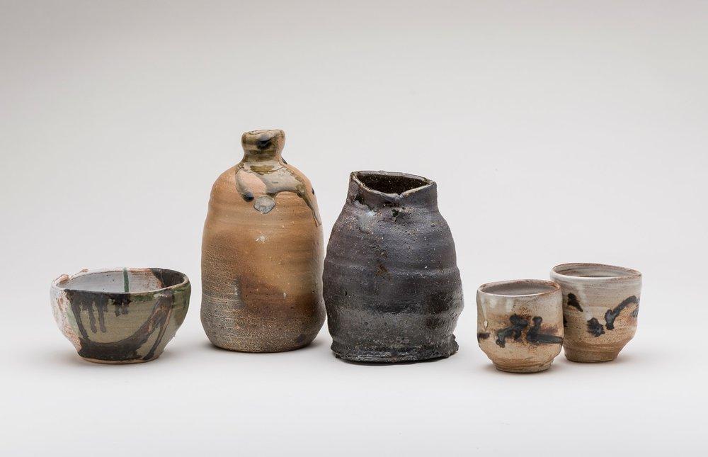 Image:Milton Moon,Chawan (tea bowl), bottle, vase, yunomi, tallest h22cm. Photo Christopher Sanders