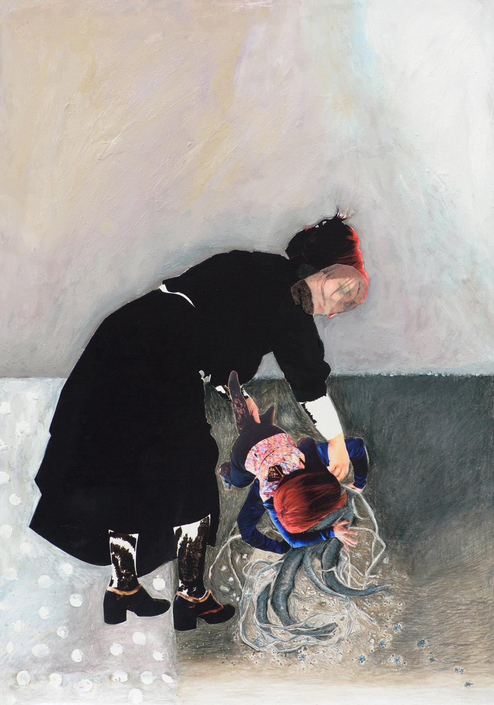 Image: Silvia Sellitto, Uprooting myself, mixed media on Hahnemuhle Rag, 2016