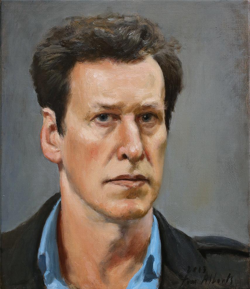 Image: Rick Amor Self Portrait Prize 2013 Winner, Tom Alberts, Winter Self Portrait, 2013, oil on linen, 35cm x 50cm