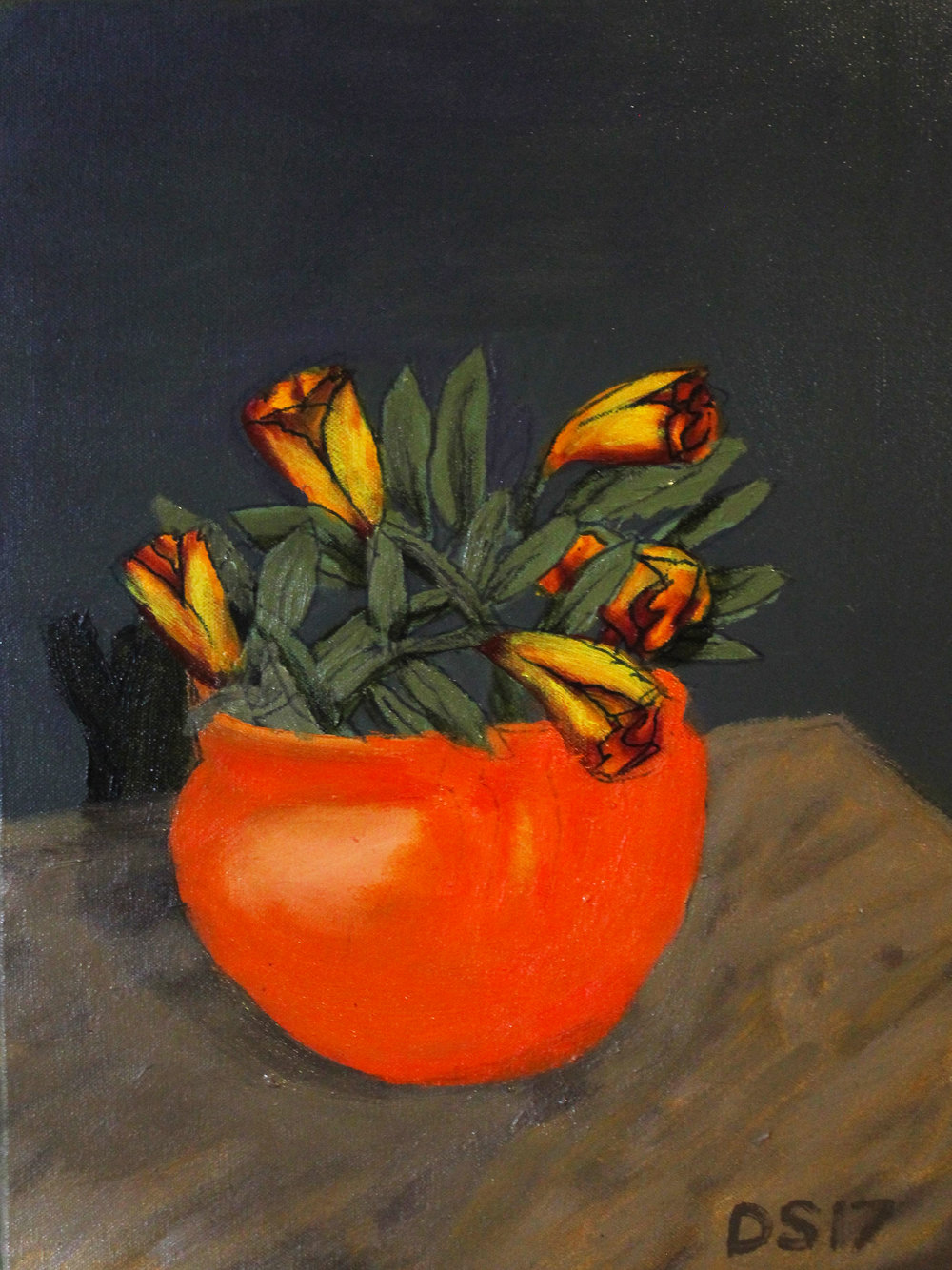 Damien Skipper, Yellow and Maroon, oil on canvas