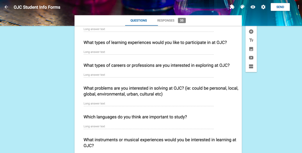 Some of the questions from our Future Students Info Form