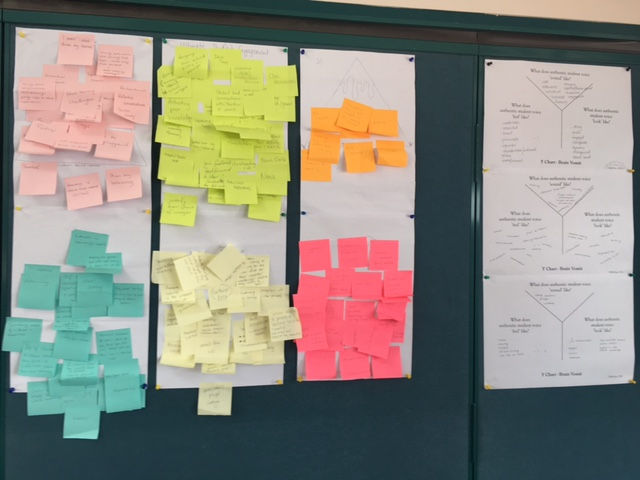 Albany staff sharing wall of readings and thinking.