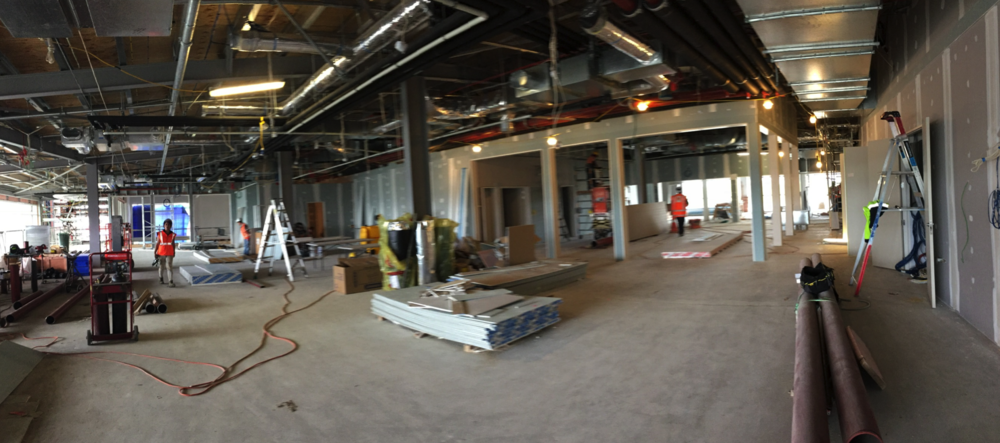 Internal walls taking shape - this is the view into the music suite, library and auditorium control room.