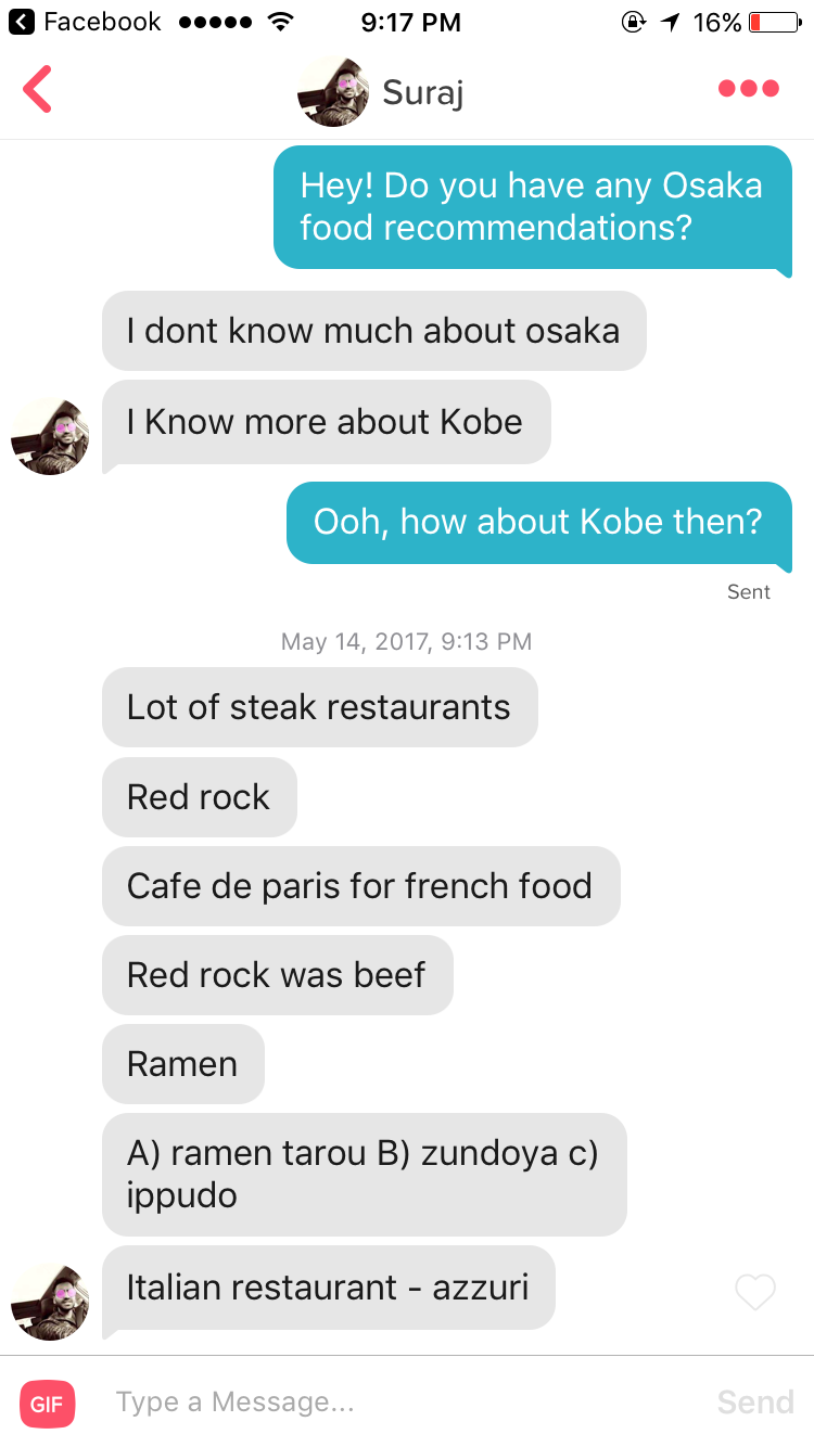 Tinder conversation screenshot