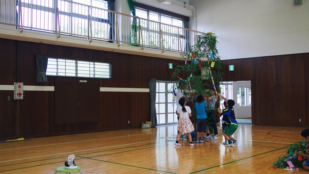celebrating the tanabata star festival at an elementary school in japan