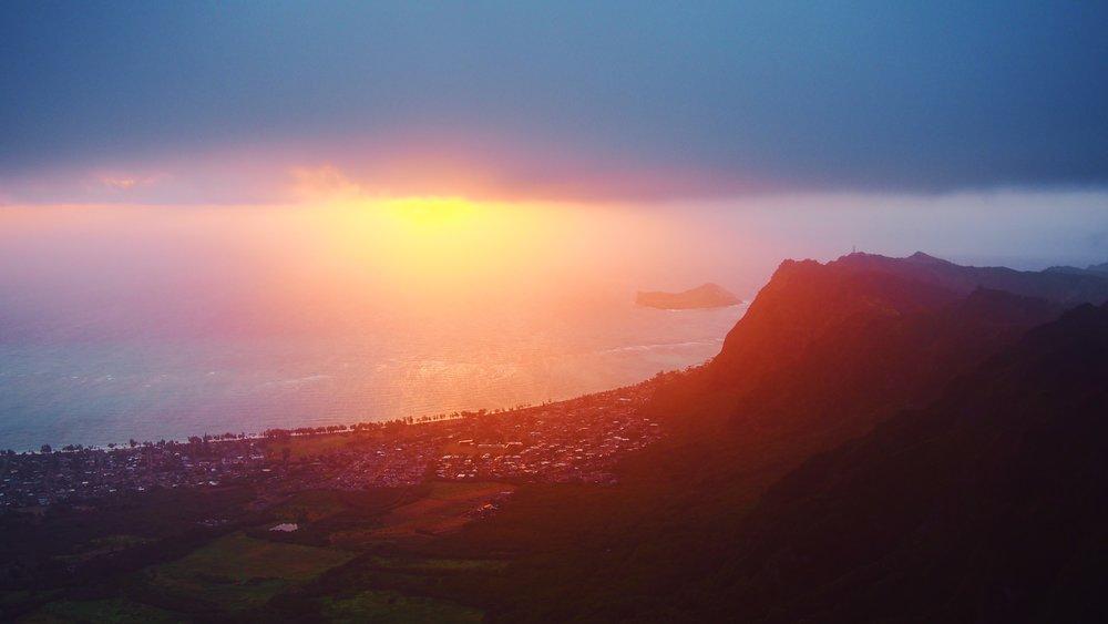 Sunrise over Oahu, Hawaii