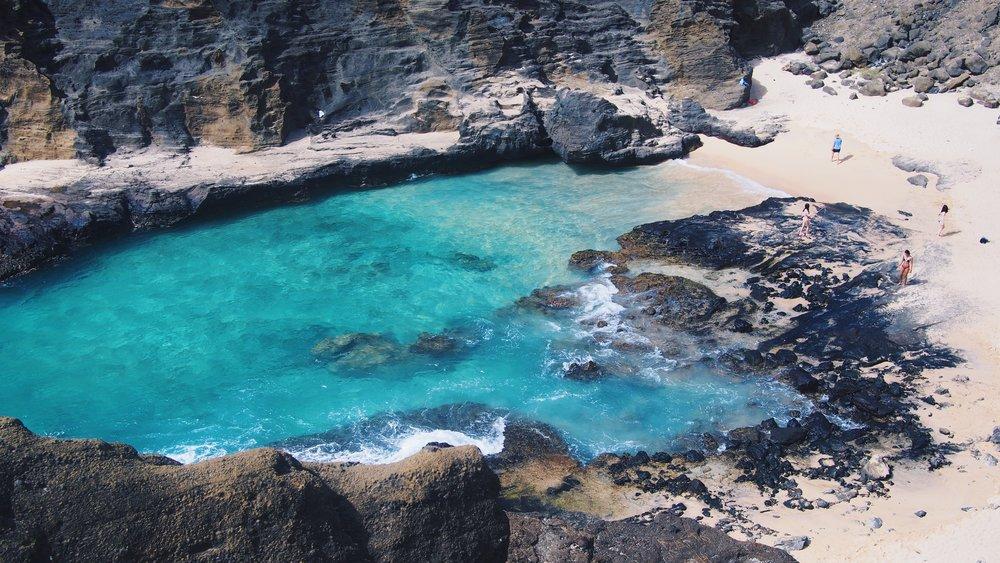 Beach on the South east side of Oahu near Halona blow hole