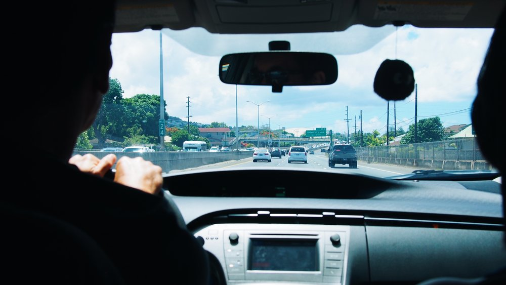 A view of Honolulu from inside a car