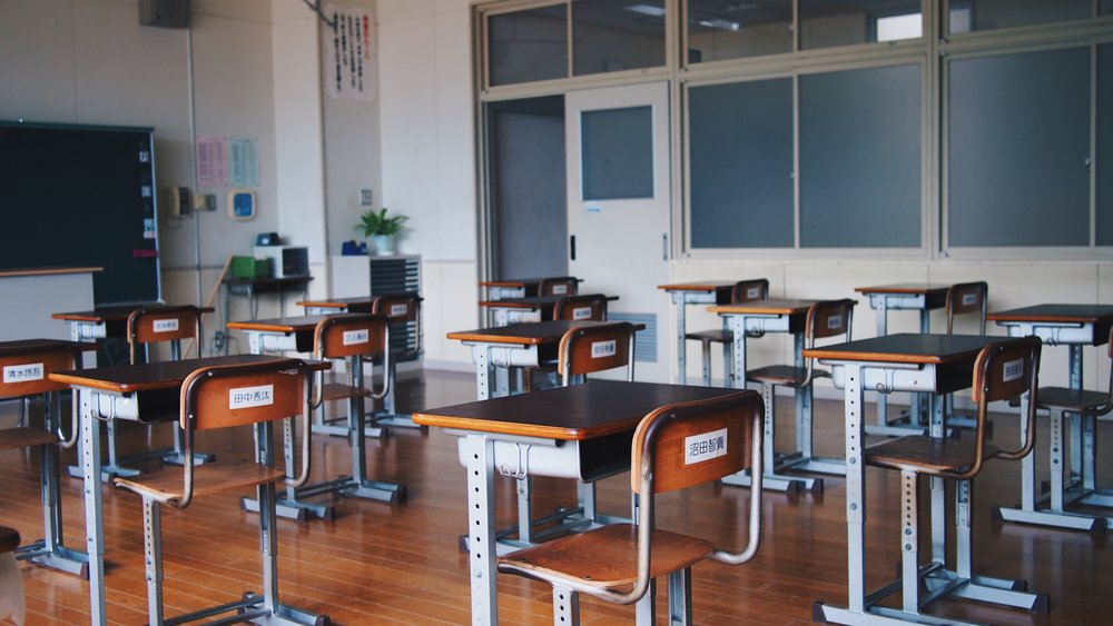 Japanese middle school classroom