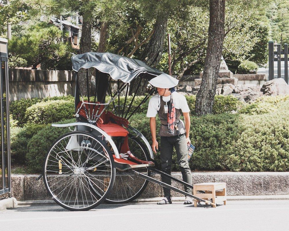 A rickshaw driver in Kyoto, Japan