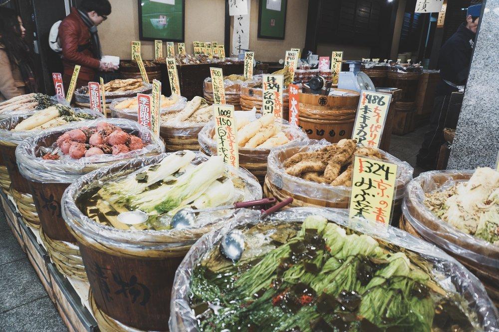 Pickled vegetables in Nishiki Market, Kyoto