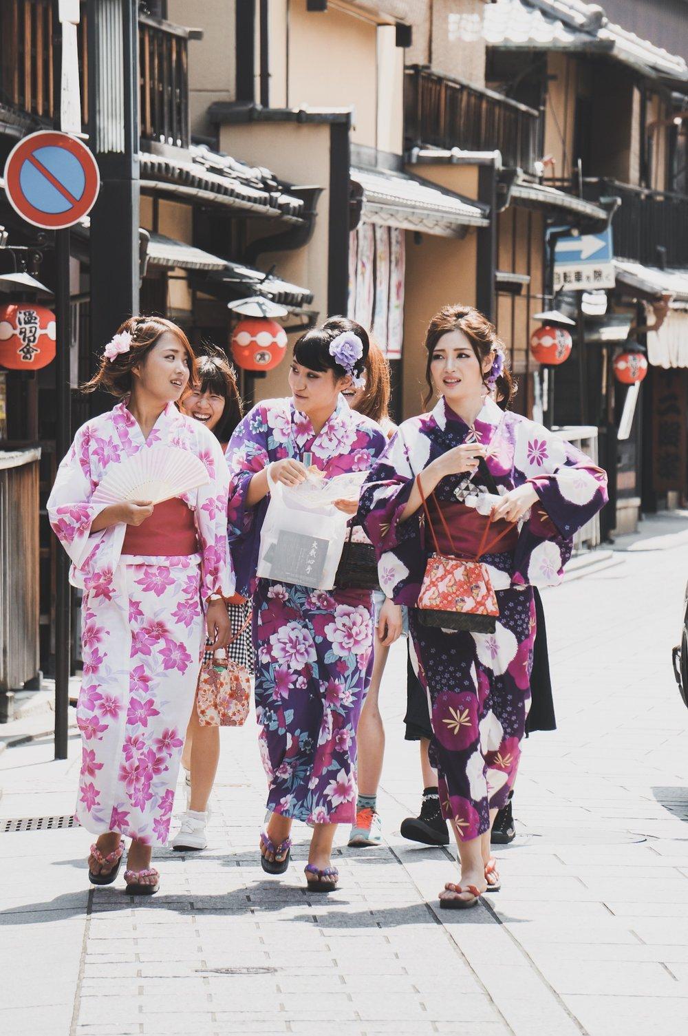 Girls in Kimono in Gion, Kyoto, Japan