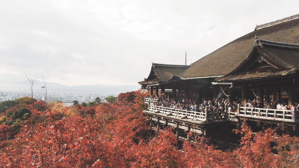 Kiyomizu temple in Kyoto Japan during the fall