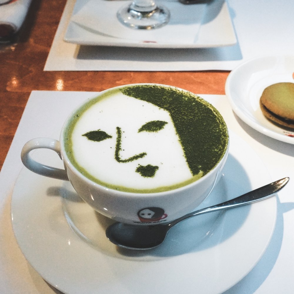 Yojiya Cafe (B4) - Yojiya is equal parts cosmetics company and matcha cafe. Its signature drinks are topped with an image of a woman dusted in matcha powder.