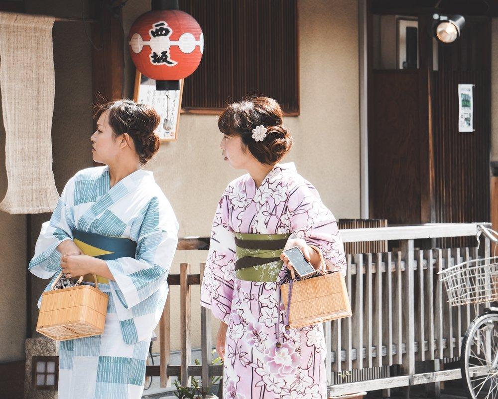 Girls in kimono in gion, Kyoto