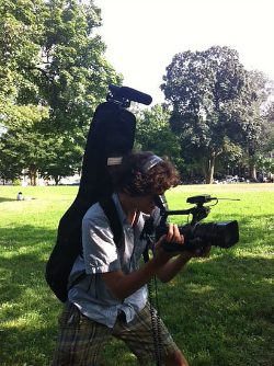 Creative use of a guitar case make it easy for run-and-gun filming.