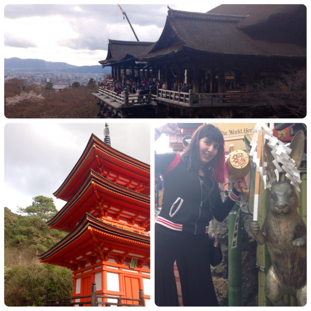 The main shrine on top, a pagoda and me with the love bun.
