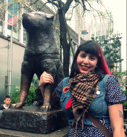 With the famous Hachiko statue at Shibuya Crossing exit.